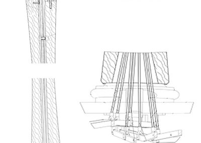Transmisión mecanismo arpa de pedales. Pedal harp transmission plan