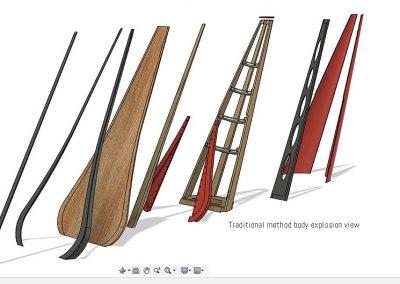 Body concert harps parts. Partes del cuerpo de un arpa de concierto