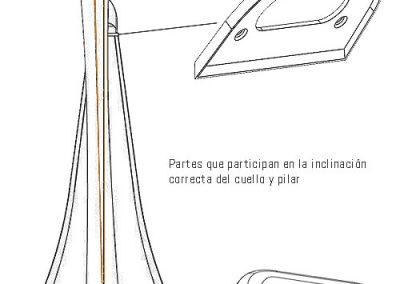 Capuchón en arpas de pedales. Position pillar and neck.