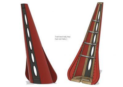 Concert harp body. Caja de sonido arpa de concierto