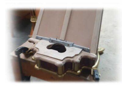Nueva caja de pedales y sujeción pilar para antigua arpa Erard 1843