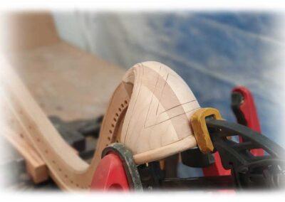 Construcción de nuevo cuello para arpa Erard. Detalles.