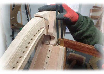 Construcción de nuevo cuello arpa Erard