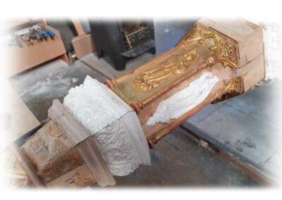 recuperación de relieves en pilar de Arpa Erard, réplicas partes relieve
